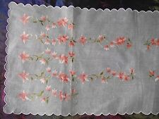 Sheer ( Cotton Linen Organza ?) Ecru & Coral Floral Embroidery Table Runner