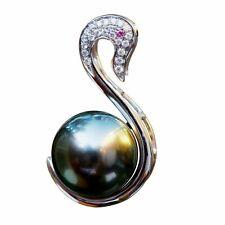 Nice 10.5mm seawater Tahitian Peacock black Pearl Diamond Ruby Swan 18K Pendant