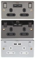 Switched Mains TWIN PLUG Sockets + 2 USB PORTS Charges PHONE iPAD Tablet iPhone