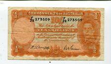 Australia 10 Shillings N/D Black Signatures Vf Nr 9.95