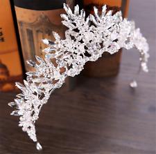 Women Girl Retro Clear Crystal Ice Queen Rhinestone Hair Tiara Crown Headband