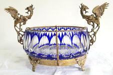 Vintage Bronze Mounted Dragon Handles Cut Crystal Blue Big Center Piece Bowl