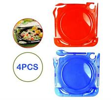 Pack of 4 Caterplate Red Blue Cutlery Reusable Camping Festival Drink Holder