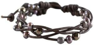 Chan Luu Taupe Freshwater Cultured Pearls and Semi Precious Stones Taupe Braided