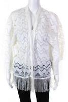 Anna Sui Womens Paisley Lace Fringe Hem Open Front Jacket White Size L