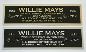 Willie Mays nameplate for signed autographed baseball jersey photo glove bat
