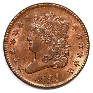 1828 C-3 13 Star Classic Head Half Cent Coin 1/2c