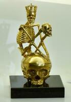 Antique French Verge Fusee CALENDAR Memento Mori Skull/Skeleton desk clock c1790