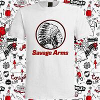 New Savage Arms Firearms Gun Logo Men's White T-Shirt Size S to 3XL