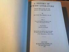 A History Of Jewish Literature Waxman Vol 1 1938 Ny