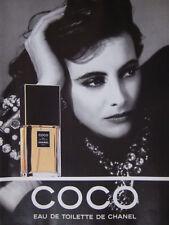 PUBLICITÉ DE PRESSE 1989 COCO EAU DE TOILETTE DE CHANEL - ADVERTISING