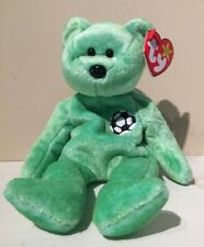 Ty Beanie Baby Kicks Bear Soccer Green Ball