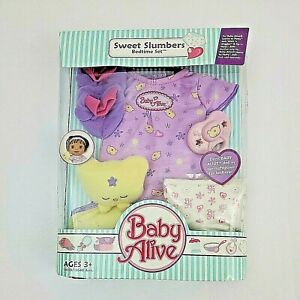 New Baby Alive SWEET SLUMBERS BEDTIME SET Pacifier Dress Diaper Blanket Booties