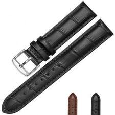 14 - 22 mm Marrón Cuero Genuino Correa De Reloj Banda Acero Inoxidable Negro
