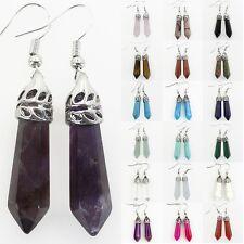 Amethyst Turquoise Agate Quartz Gemstone Hexagonal Chakra Silver Dangle Earrings