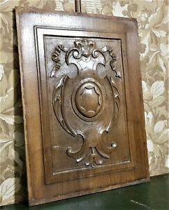 Ribbon crowned scroll leaf carving panel Antique french architectural salvage