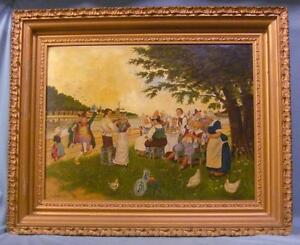 Antique O/B Painting of a Whimsical Gathering Signed LR 19th Century