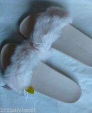 PRIMARK ATMOSPHERE NUDE FAUX FUR POOL BEACH SLIDERS-Size uk 7-Sold Out!