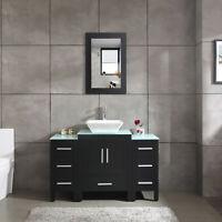 "48"" Black Bathroom Vanity and Sink Combo Single Glass Top w/Mirror Faucet&Drain"