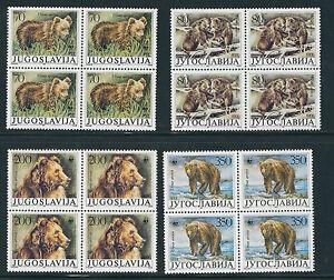 YUGOSLAVIA 1988 WWF Brown bears (Sc 1880-3) VF MNH blocks of 4