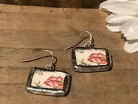 Recycled Broken Porcelain Jewelry, Vintage Pink Floral Earrings
