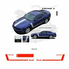 Ford Mustang 2013 up GT Style Hood and Side Stripes Graphic Kit - Red