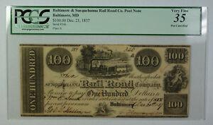 Dec 21 1837 $100 Obsolete Currency Baltimore Susquehanna Rail Road Co PCGS VF-35