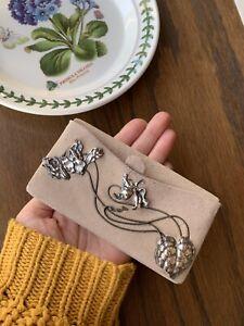 VIOLETS French Sterling Silver Art Nouveau WALLET Clutch Suede Kid Glove Floral