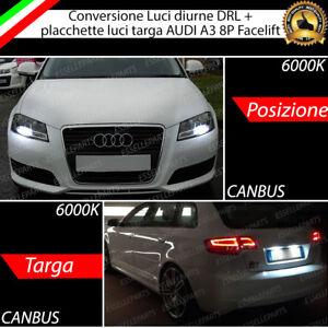 COPPIA LUCI DIURNE / POSIZIONE 15 LED  + LED TARGA CANBUS AUDI A3 8P FACELIFT