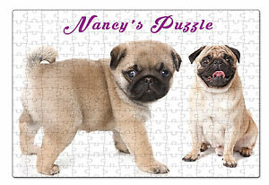 Personalised Pug Jigsaw Puzzle  Add any Name and Text - ILVP 1014 - 4 Designs