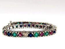 15.20ct natural ruby emerald sapphires diamond diamond tennis bracelet 14kt+