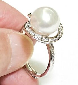 Solitaire 9.5mm Australian South Sea Round Natural White Pearl Ring Size 6 - 7