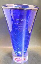 Vintage Kosta Boda Zoom Cobalt Engraved Presentation Bubble Vase (2002) Excellen