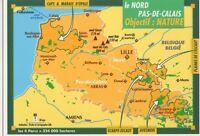 France, Le Nord Pas-De-Calais Map Postcard, B354