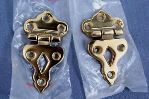 """1 Pair of Solid Cast Brass Ice Box Hinges (Unlacquered Finish) 3/8"""" Offset"""