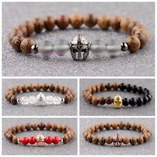 Hot Men Women Charm Gold Spartan Helmet Beaded Natural Stone Bracelets Jewelry