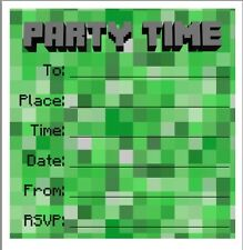 Minecraft cards stationery for invitations ebay party birthday invites 5 pack great for minecraft fans stopboris Images