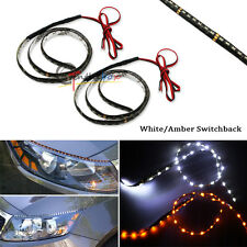 White/Amber Audi Style Side Glow Switchback 60-SMD LED DRL Headlight Strip Light