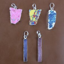 5 Pc Mosaic Jasper, Pink Turquoise Druzy Silver Plated Pendant For Women Girls