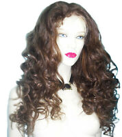 HUMAN HAIR Full Lace Wig Indian Remi Remy Long Body Wave Wavy Brown