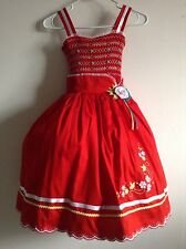 Girl Dress Red 10 Knee-Length Holiday Pageant Dressy Birthday Pique Sleeveless