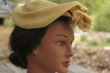 Vintage 30s Women's Roberta Bernays Straw Hat With Flower
