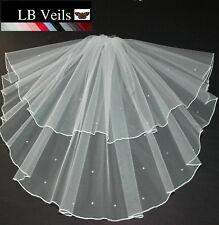 Crystal Veil Shoulder Length Wedding Ivory 2 Tier Sparkle Edge Short LBV145 UK