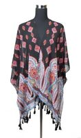 Women's Paisley Pattern Kimono Cardigan Cover Up With Beaded Tassels SKM3125