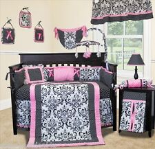 Baby Boutique - Rose Damask - 14 Pcs Crib Nursery Bedding including Lamp Shade