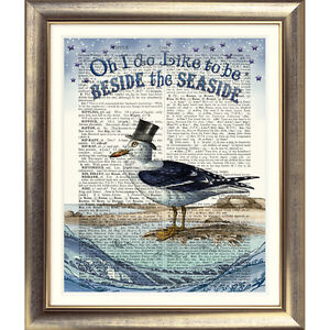 DICTIONARY ART PRINT ON BOOK PAGE Seagull picture Nautical Sea seaside VINTAGE