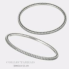 "Authentic Pandora Silver Twinkling Forever CZ Bangle Bracelet 7.9"" 590511CZ-20"