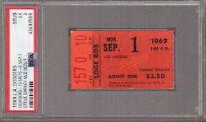 1969 L.A. DODGERS TICKET STUB 9/1 - STEVE GARVEY DEBUT PSA 5 POP 2 HIGHEST GRADE