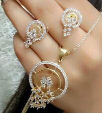 Handmade Jewelry Fashion Gold Plated American Diamond Necklace Pendant Earrings