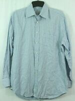 PETER MILLAR Men's L All Cotton Button Down Shirt Checkered Blue Dress Shirt